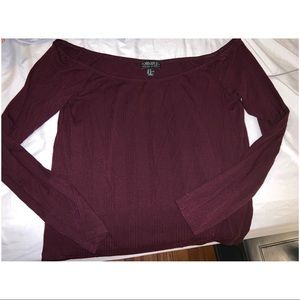 Forever 21 Tops - F21+ Maroon Off Shoulder Shirt